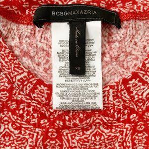 BCBGMaxAzria Tops - BCBGMaxAzria Red + White Stretchy Long Sleeve Top